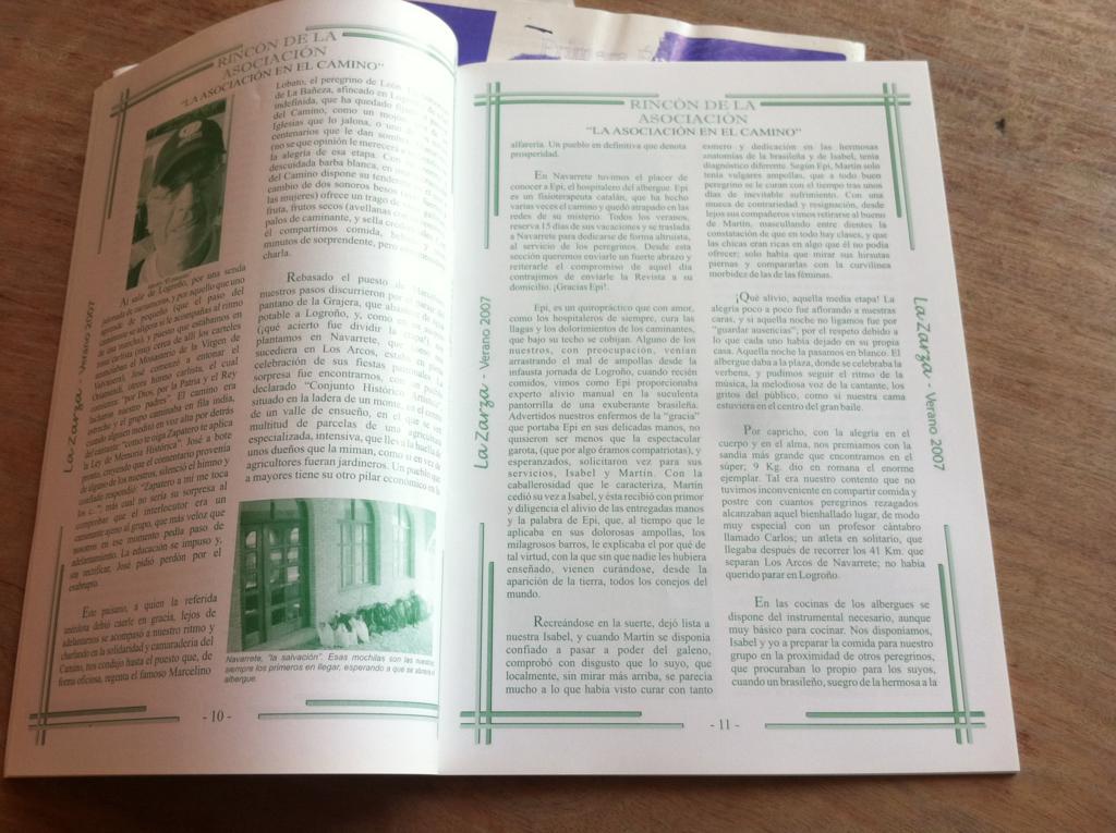 interior de la revista zarceña Amor por la tierra
